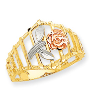 14K Tri-color Gold Diamond-Cut Flower Ring