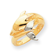14K Two-tone Gold Polished Dolphin Ring