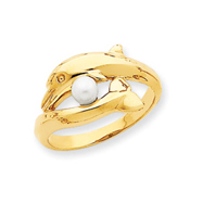 14K Gold Polished Dolphin With Cultured Pearl Ring