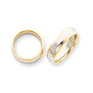 14k Two-Tone 6mm Domed Wedding Band